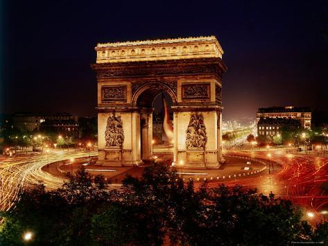arc de triomphe in place de l etoile at night photographic print by