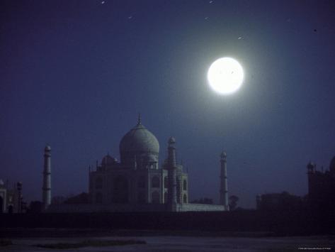 The Taj Mahal at Night with Bright Full Moon Photographic Print