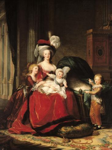 Marie-Antoinette (1755-93) and Her Four Children, 1787 Stampa giclée