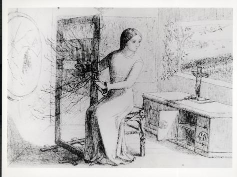 The Lady of Shalott, 1853 (Ink on Paper) (B/W Photo) Lámina giclée