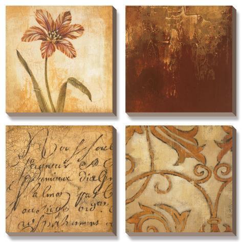 Tulip Manuscript I Canvas Art Set