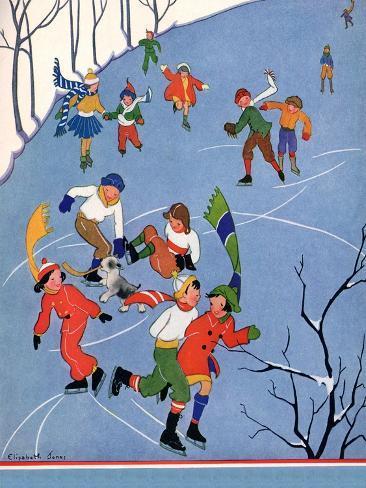 Children Ice Skating, 1935 Giclee Print
