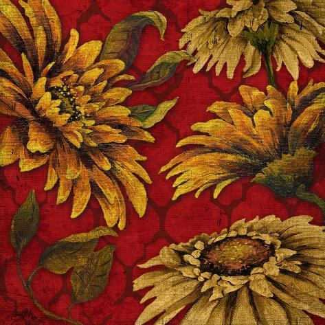 Yellow Floral on Red I Stampa artistica