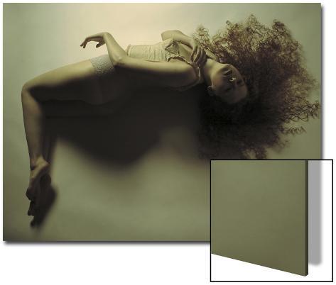 Woman Reclined in a Swim Like Position Art on Acrylic