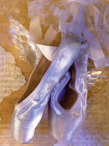 Ballet Slippers Over Wings and Music Sheet Photographic Print