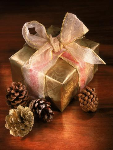 Christmas Gift with Gold Ribbon and Pinecones Photographic Print