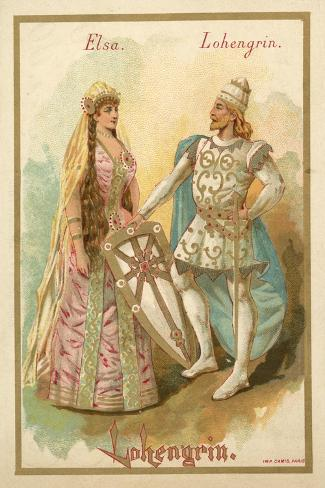 Elsa and Lohengrin, from Richard Wagner's Opera Lohengrin Stampa giclée