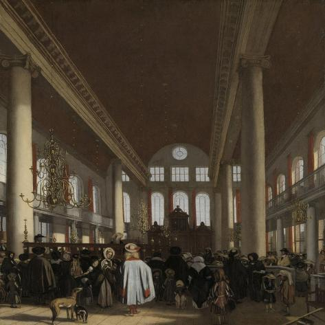 Interior of the Portuguese Synagogue in Amsterdam Art Print