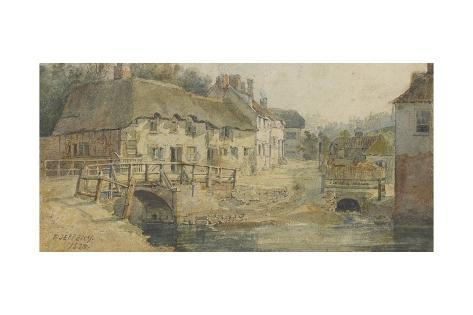 The Old Engine Bridge with Exe Lane, Exeter, 1825 Giclee Print