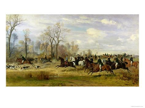 Emperor Franz Joseph I of Austria Hunting to Hounds with the Countess Larisch in Silesia, 1882 Giclee Print