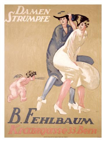 Damen Strumpfe B. Fehlbaum Stampa giclée