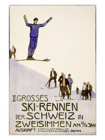 Rennen Der Schweiz, Ski Giclee Print