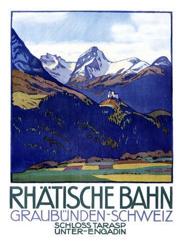 Rhatische Bahn, Schloss Tarasp Giclee Print