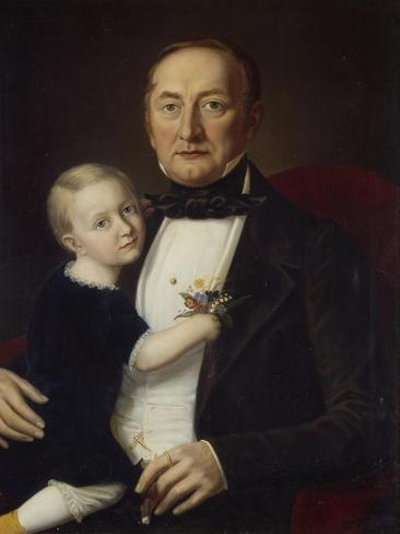 Portrait of a Father and Son, 1840-60 Giclee Print