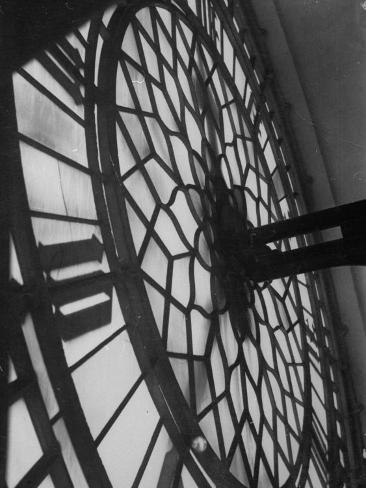 Close Up of Back of Lit Face of Big Ben Photographic Print