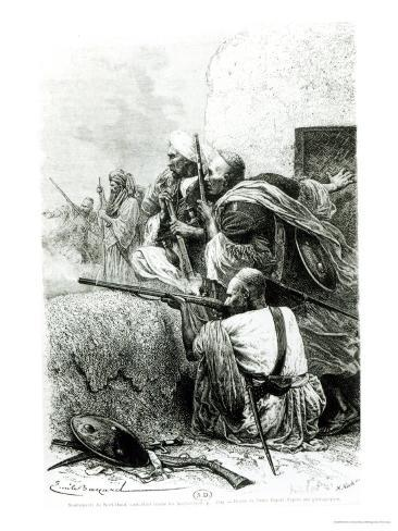 North-Western Afghan Mountain Troops Fighting Against the British, Engraved by H. Koch Impressão giclée