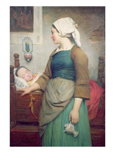 Sweet Slumber, 1875 Stretched Canvas Print