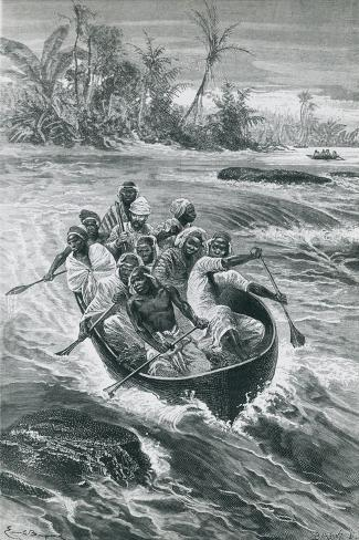 Stanley Overcomes the Rapids on the Congo River Giclee Print
