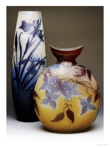 Two Galle Double-Overlay Acid-Etched Vases Giclee Print