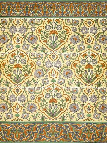 Faience Mural with Border Using Highly Stylised Repeating Patterns Using Plant Forms, from a Kiosk Lámina giclée