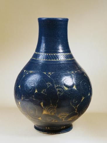 Cobalt Blue Gres Ceramic Vase with Metallic Inclusions, 1925 Giclee Print