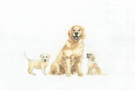 Dog and Puppies Art Print