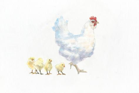 Hen and Chickens Art Print