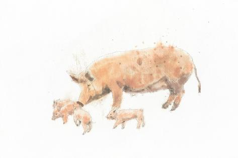 Pig and Piglet Art Print