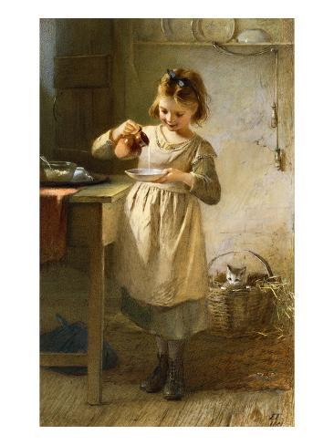 Girl with a Kitten Giclee Print