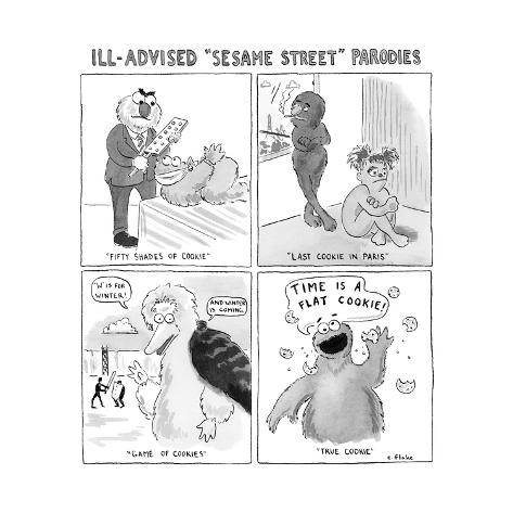 A panel of Ill-Advised Sesame Street Parodies -- Fifty Shades of Cookie.  - New Yorker Cartoon Premium Giclee Print