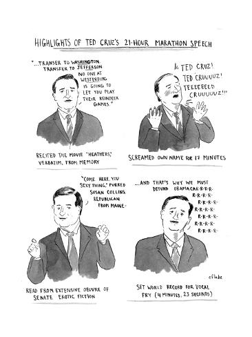 Highlights of Ted Cruz's 21-hour Marathon Speech - Cartoon Giclee Print