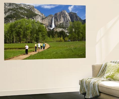 People Looking at Yosemite Falls from Wooden Walkway Giant Art Print