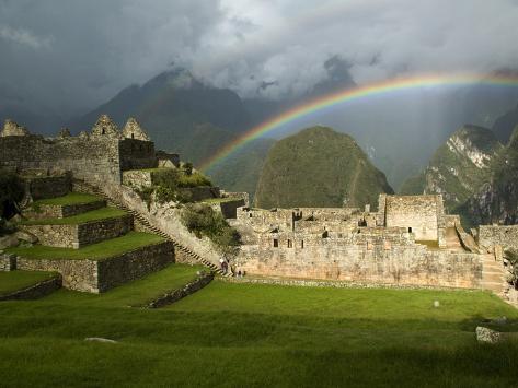 Rainbow over Incan Ruins of Machu Picchu Photographic Print