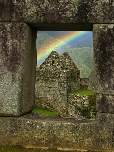 Rainbow Seen Through Temple of Three Windows Photographic Print