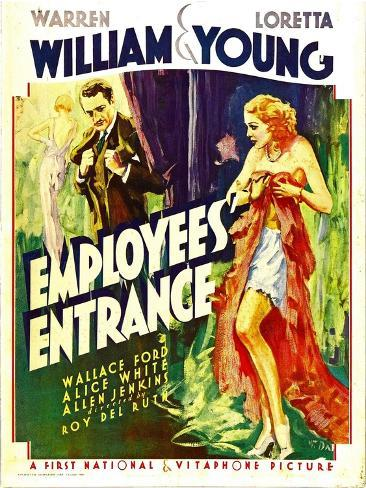 Employees' Entrance, Warren William, Loretta Young on Window Card, 1933 Photo