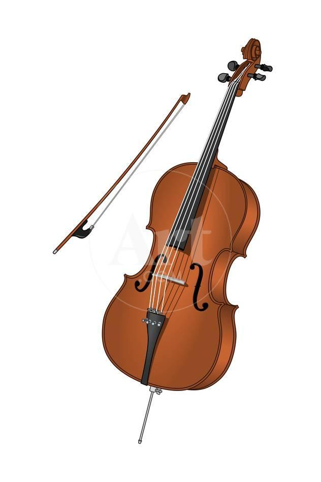Cello and Bow, Stringed Instrument, Musical Instrument