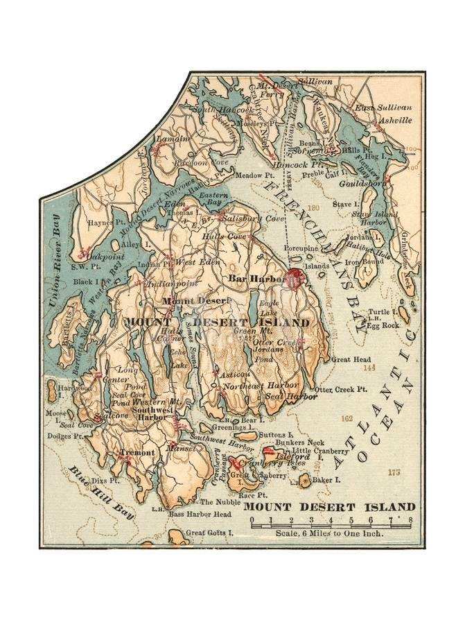 Inset Map of Mount Desert Island Maine Giclee Print by