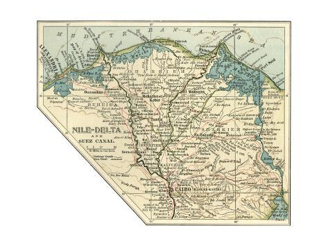 Inset map of the nile delta and suez canal egypt giclee print by inset map of the nile delta and suez canal egypt gumiabroncs Image collections