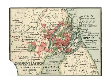 Map of Copenhagen C 1900 Maps Giclee Print by Encyclopaedia