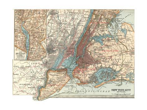 Map Of New York City C 1900 Maps Giclee Print By Encyclopaedia