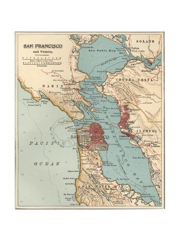 Map of the San Francisco Bay Area C 1900 Maps Giclee Print by