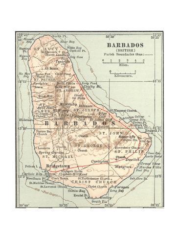 plate 118 inset map of barbados british impressão giclée por