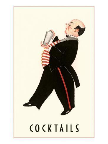 English Butler with Martini Shaker Art Print