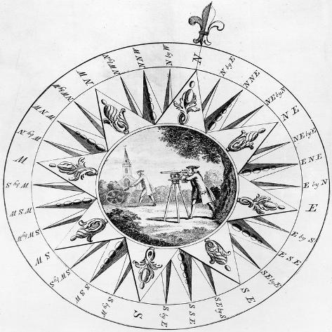 Compass with a Scene of Surveying (Engraving) Giclee Print