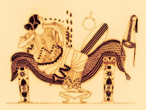 Danae And The Golden Shower Illustration From Greek Vase Paintings