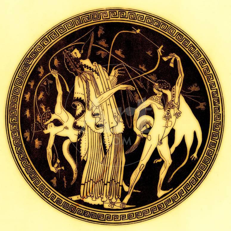Dionysos And Satyrs Illustration From Greek Vase Paintings Giclee