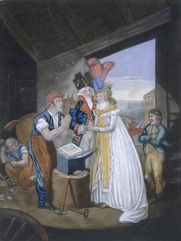 Gretna Green, or the Red-Hot Marriage, Pub. by Aurrie and Whittle, 1794 (Coloured Engraving) Giclee Print