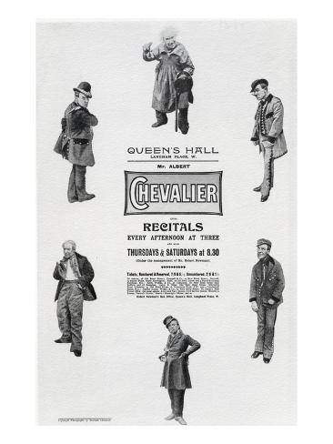 Poster Advertising Albert Chevalier's Recital at the Queen's Hall (Engraving) Giclee Print