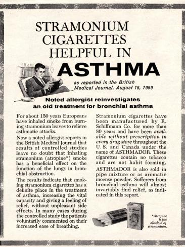 Advertisement for 'stramonium Cigarettes', 1960s Impressão giclée