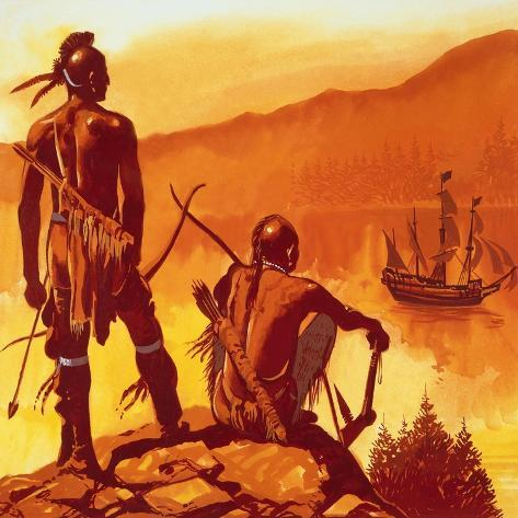 American Indians Looking at Invaders' Ship Lámina giclée